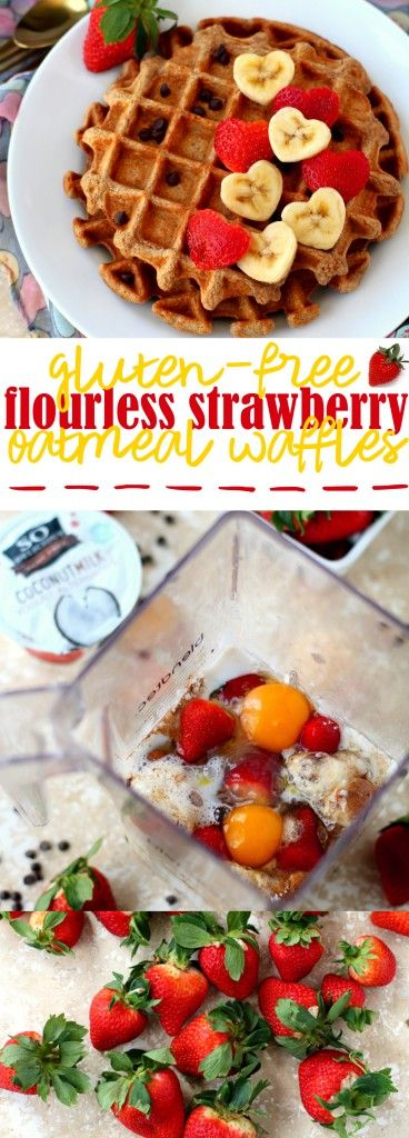 Flourless Strawberry Oatmeal Waffles - fluffy on the inside, crispy on the outside, perfectly sweet and delicious! The ultimate cozy breakfast w/ @sodelicious & @mambosprouts  (ad, dairyfreechallenge)