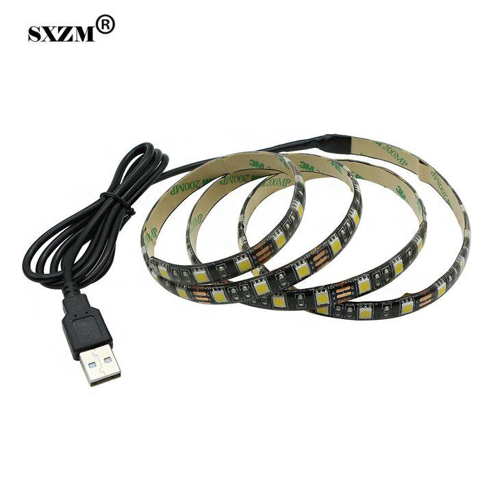 SXZM 5V 5050 USB LED flexible strip light IP65 waterproof 60leds/M Black PCB Warm white for Background Lighting 1M/2M/3M/4M/5M #Affiliate