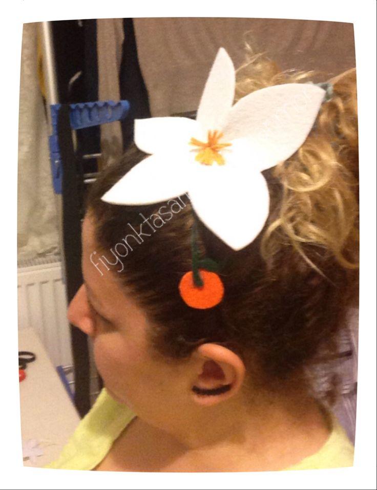 Portakal çiçeği karnaval tacım,keçeden handmade