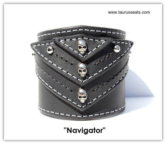 Leather Cuff Bracelet   Mens Leather Wristband   Motorcycle Accessory, Bikers Cuff Bracelet   Skull Rivets, Dome Rivets, Siver StitchingLeather Cuff Bracelet Mens Leather Wristband by TaurusSeats