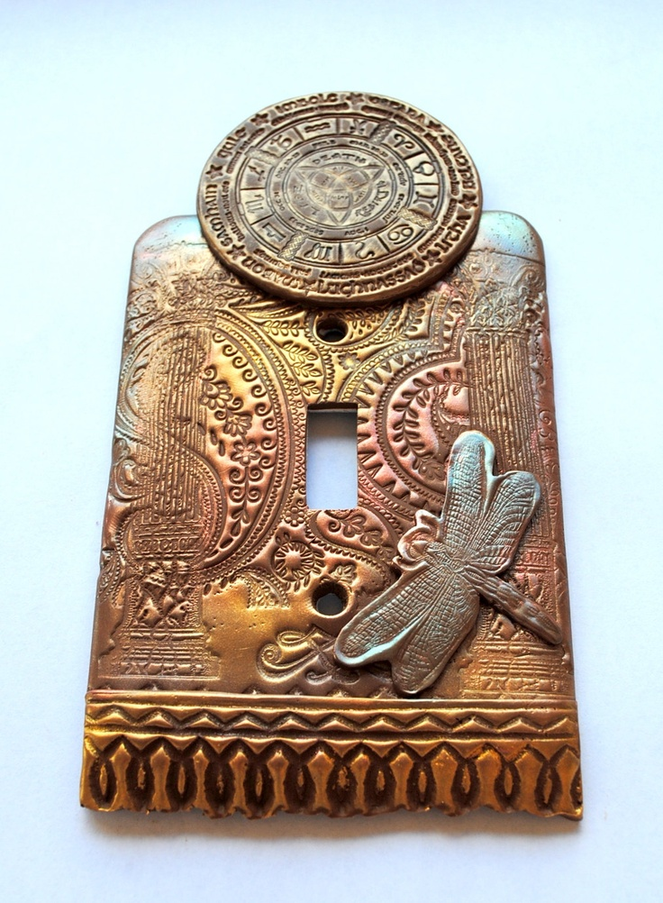 Pagan Calendar with Dragonfly, one of a kind, light switch cover
