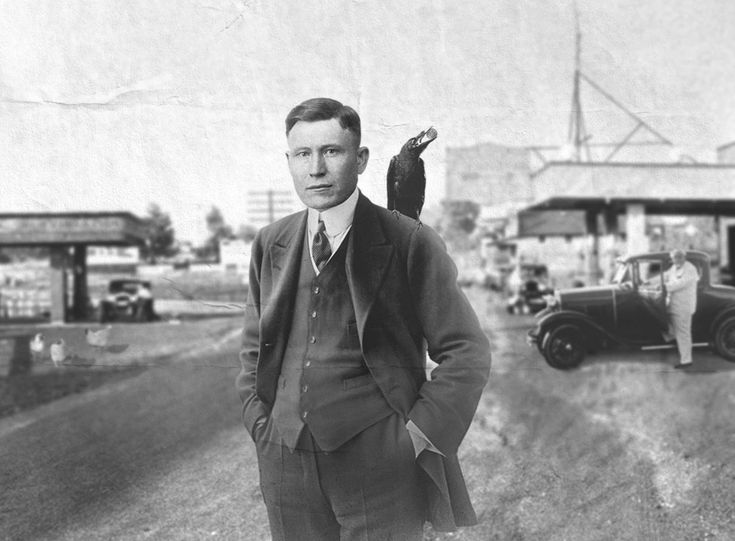 The real 'Colonel' Harlan Sanders with his pet crow 'Jim' in the 1930's, (pre Kentucky Fried)