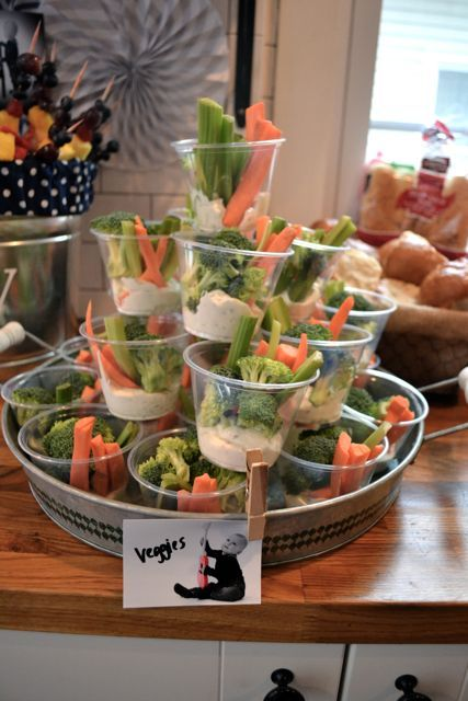 Great idea for veggies and dip for a party. No double dipping.