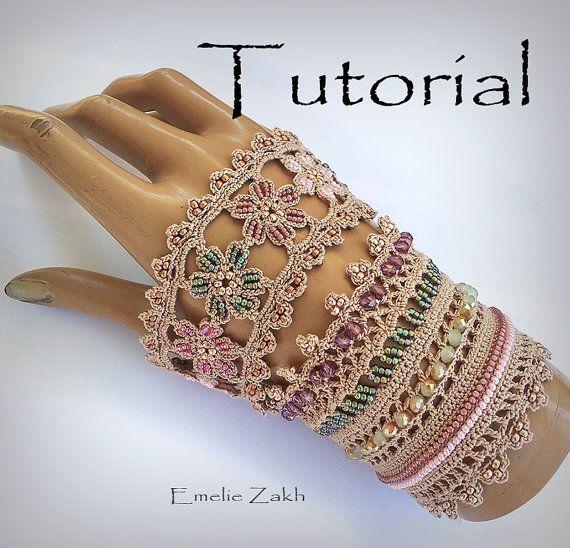 Pattern crochet beaded bracelet .Exclusive Tutorial. PDF