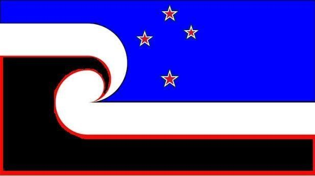 One Nation New Zealand by Garth Mudford, tagged with: black, blue, red, white, koru, Southern Cross, Māori culture.