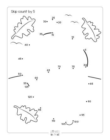 fall dot to dot skip counting worksheets by 2s 5s and by 10s free printables for kids. Black Bedroom Furniture Sets. Home Design Ideas