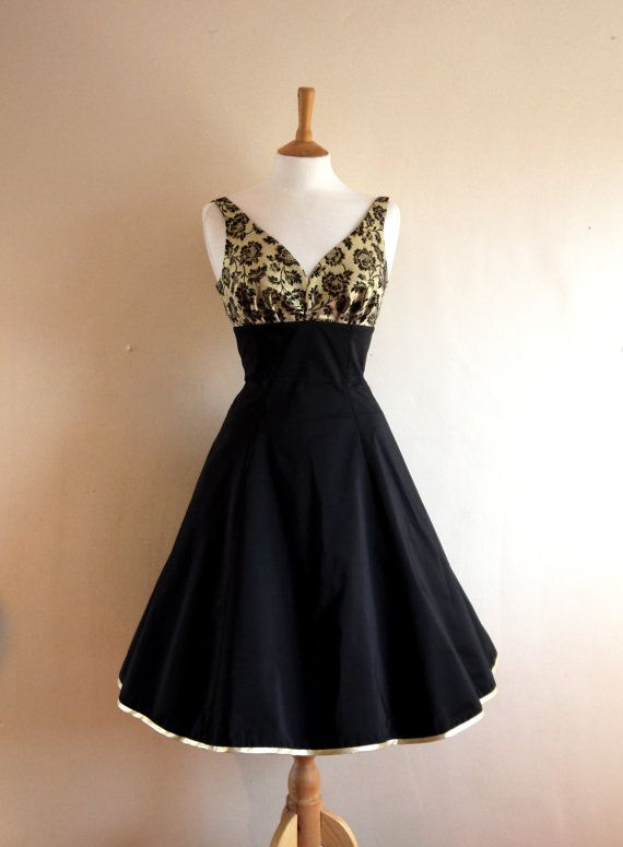 Black Grosgrain and Gold Brocade Diva Dress  Made by digforvictory, £150.00