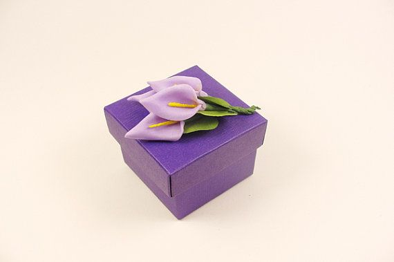 Calla Lily Purple Wedding Favor Box... possible not sure how much i like them but they are cute