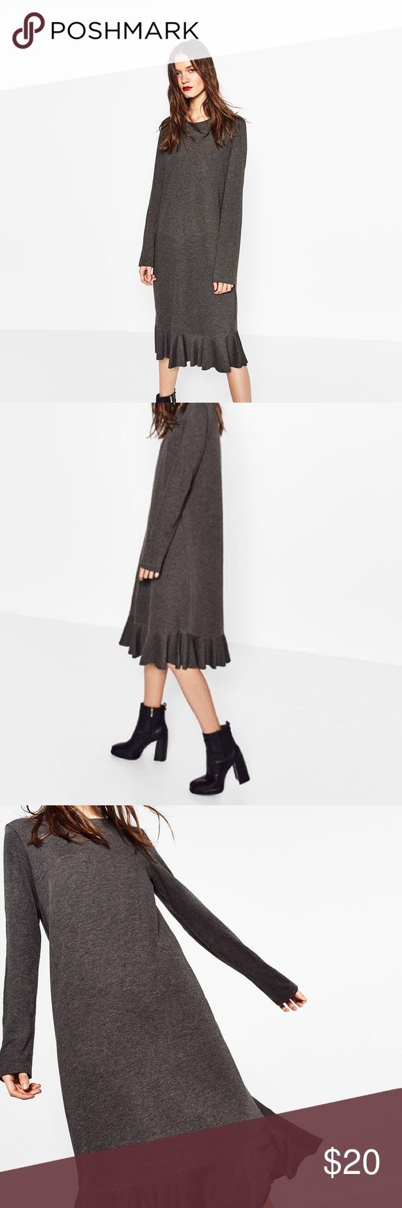 PLUSH FRILL DRESS | ZARA Long midi gray dress with a frill bottom that has a raw hem. Good balance of casual yet cute. Perfect Condition - Worn once for about an hour.   Plush dress, midi dress, round neck. 60% Cotton, 40% Polyester. Next day shipment! Zara Dresses Midi