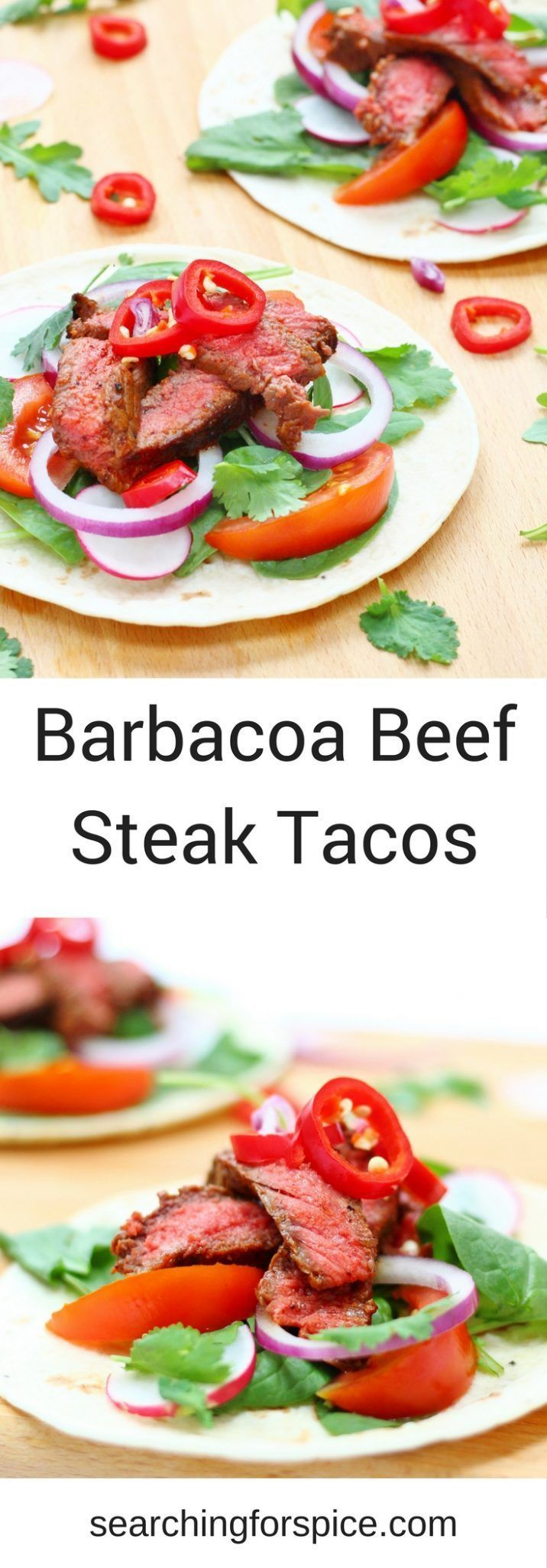 These barbacoa beef steak tacos make a delicious light healthy meal. Cook the steak on the bbq or inside and let everyone help themselves to the taco fillings and toppings. They make a tasty easy family meal. #tacos #beef #easymeals #bbq