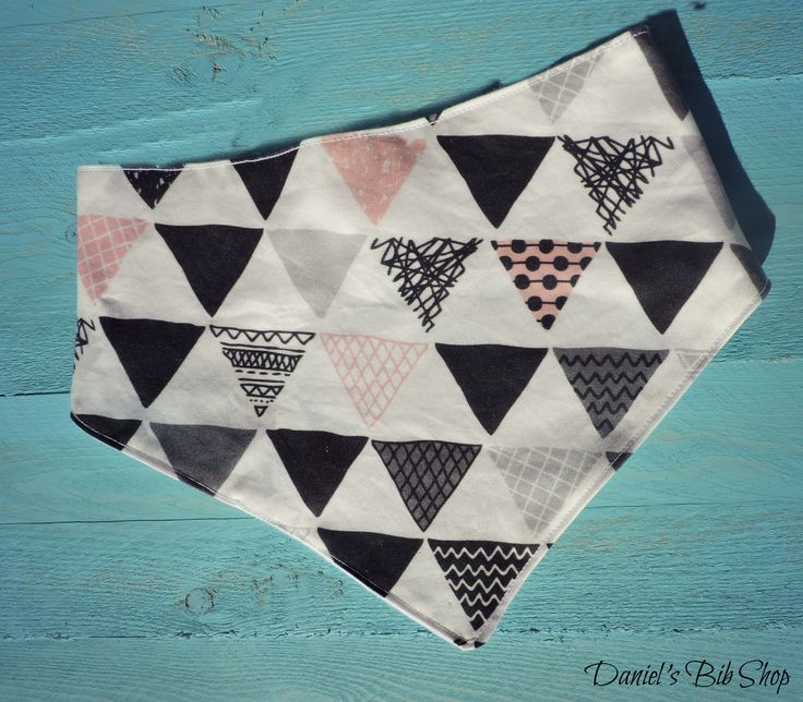 Handmade pink & Black Aztec triangles baby bibdana