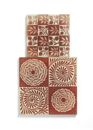 William De Morgan A Large Ruby Lustre 'Rose and Scroll' Tile, circa 1880