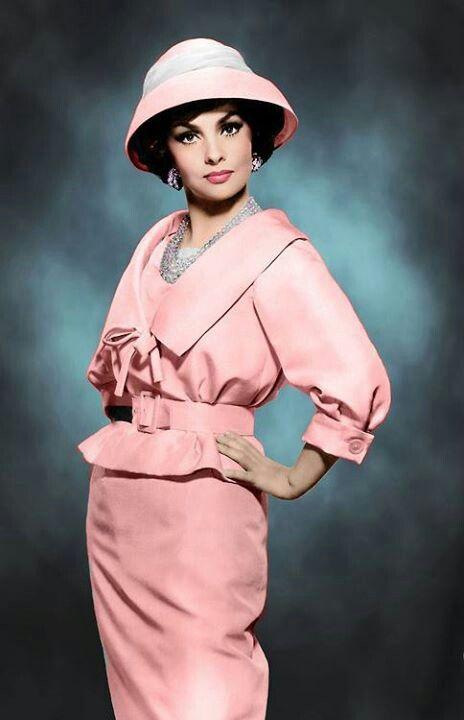 Gina, 1960s pink dress suit belt hat skirt jacket color photo print ad model magazine movie star