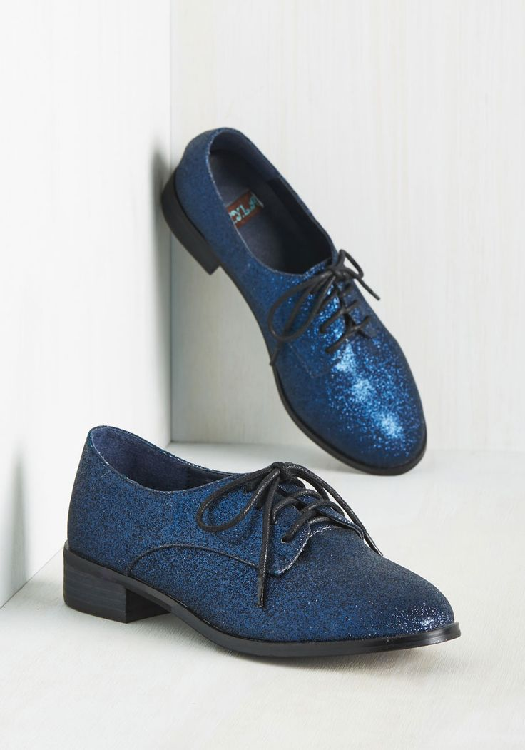Trademark Sparkle Flat in Neptune - Blue, Solid, Glitter, Party, Girls Night Out, Menswear Inspired, 50s, Scholastic/Collegiate, Fall, Better, Lace Up, Variation, Blue, Saturated, Low, Faux Leather, Statement