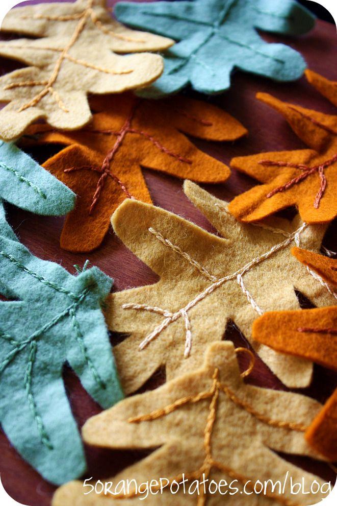 Stitched Felt Fall Leaves