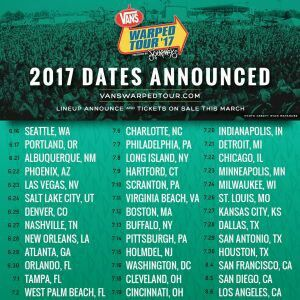 Warped Tour 2017 Offical Dates announced!