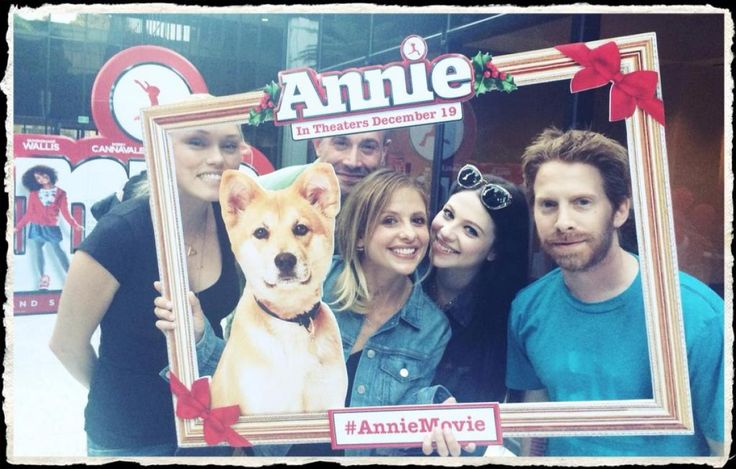 """It's a """"Buffy"""" reunion! Sarah Michelle Gellar took to Twitter on Sept. 17, 2014 to show that she is still buddies with her """"Buffy the Vampire Slayer"""" co-stars Seth Green and Michelle Trachtenberg! The old pals were joined by 90's heartthrob and Gellar's husband Freddie Prinze Jr. and Green's wife Clare Grant at the private screening of the upcoming remake of the movie """"Annie."""""""
