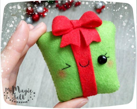 Ornamenti di Natale feltro ornamento scatola regalo per gli ornamenti dell