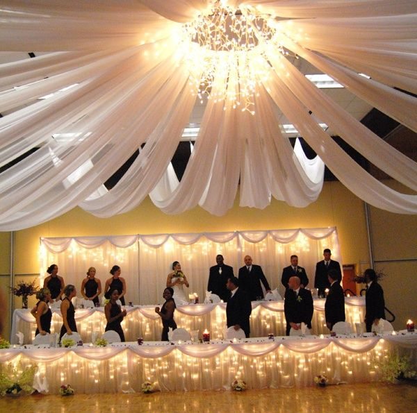 Stunning ceiling draping. Goes great with the strong lights as well!