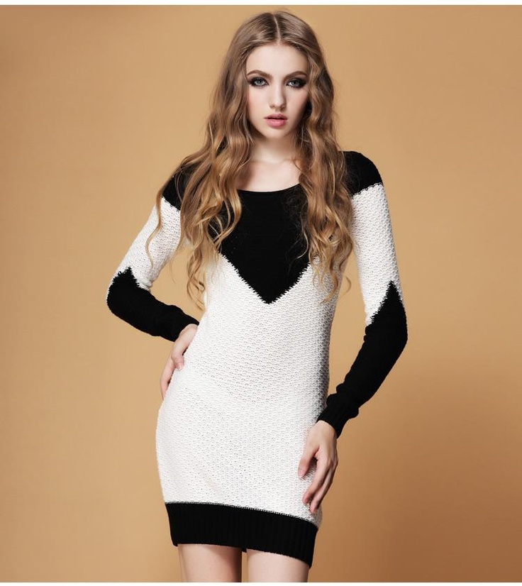 mixed colors Slim wool dress  $55.18