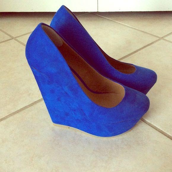 Blue Wedge Heels Velvet Blue Wedge Heels NEVER WORN ALDO Shoes Wedges