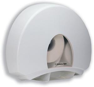 Dispenser hartie igienica Kimberly Clark Aqua fabricat din plastic rezistent la socuri.