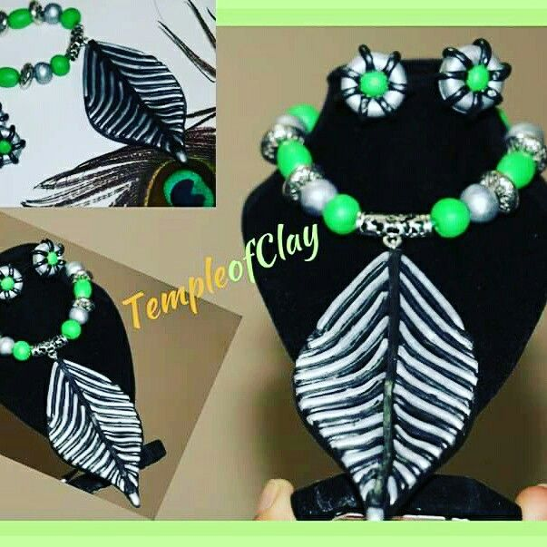 https://www.facebook.com/TempleofClay/  https://www.etsy.com/shop/TempleofClay  #Green black and silver colored leaf floral necklace earrings#Polymer clay jewelries# polymerclay necklace# handmade clay pendant#unique#boho necklaces# statement neck piece# Templeofclay# Terracotta jewelry# Tribal jewel#gift for women girl kids#bollywood south fashion# Asian jewellery# Indian hippiejewelry#color colour customization #vintage# filigree pendant