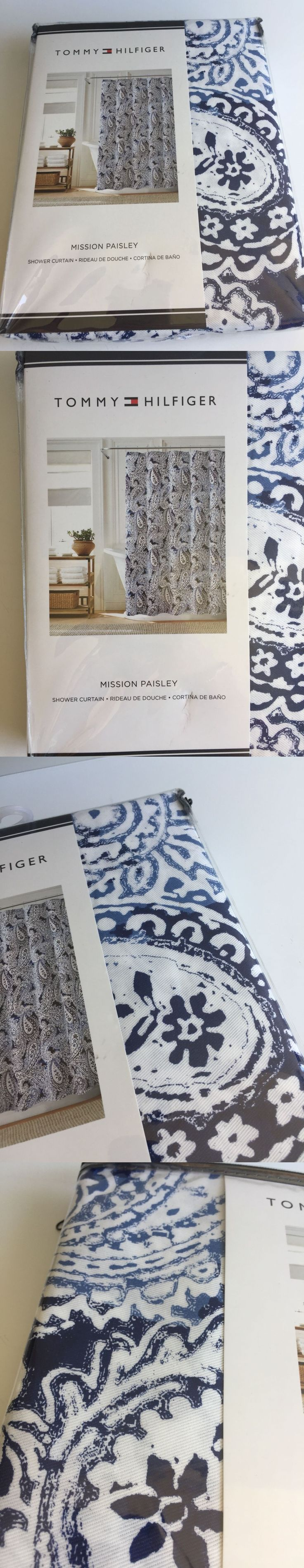 Christmas shower curtains on ebay - Shower Curtains 20441 New Tommy Hilfiger Canyon Paisley Fabric Shower Curtain 72x72 Navy