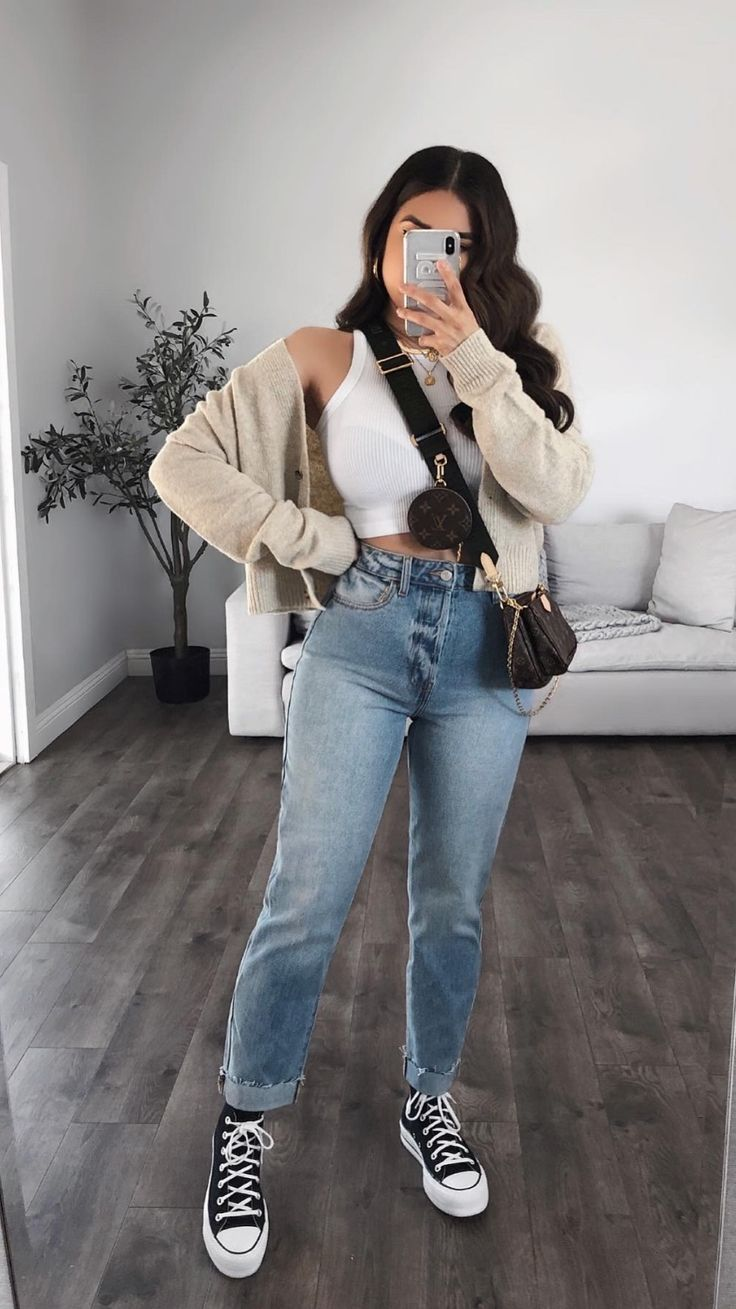 Trendy Summer Outfits, Cute Summer Dresses, Basic Outfits, Cute Casual Outfits, New Outfits, Casual Chic, Fashion Outfits, High Waisted Denim Jeans, Cute Fashion