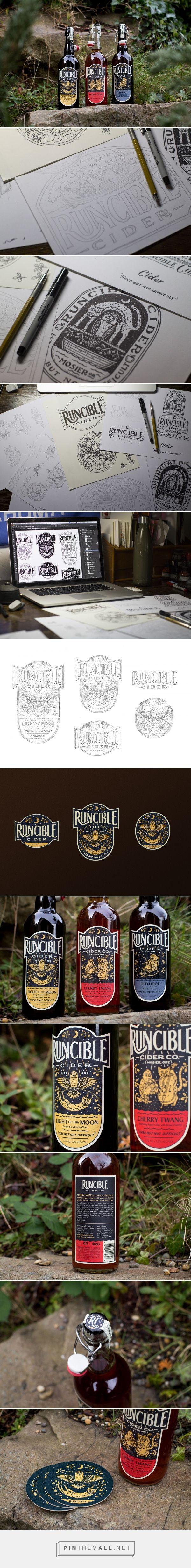 Runcible Cider packaging design illustration by Nathan Yoder - https://www.packagingoftheworld.com/2018/03/runcible-cider.html