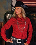 An all cotton western shirt with an all over paisley print, an open collar, snap down placket, flap snap pockets, single snap cuffs, saw tooth back yoke and a western front yoke.Colors: Red Fort Western Stores offers a huge selection of western wear and decor at low prices including cowboy hats, work wear, cowboy boots, saddles and tack.