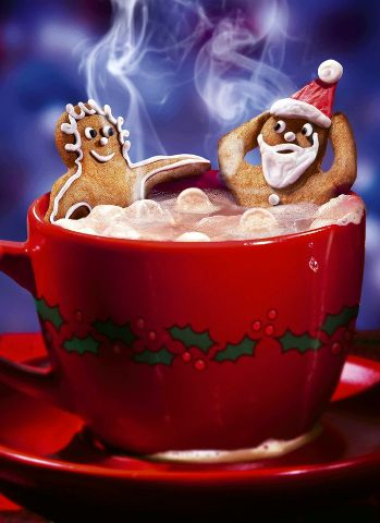 Gingerbread-man and woman in a hot cocoa hot tub! Haha