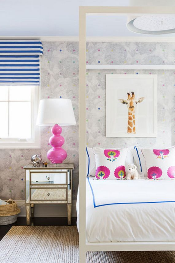 Kids Room With White Canopy Bed, Contemporary, Girlu0027s Room