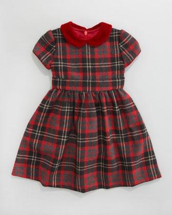 Anna Plaid Cap-Sleeve Dress - Neiman Marcus