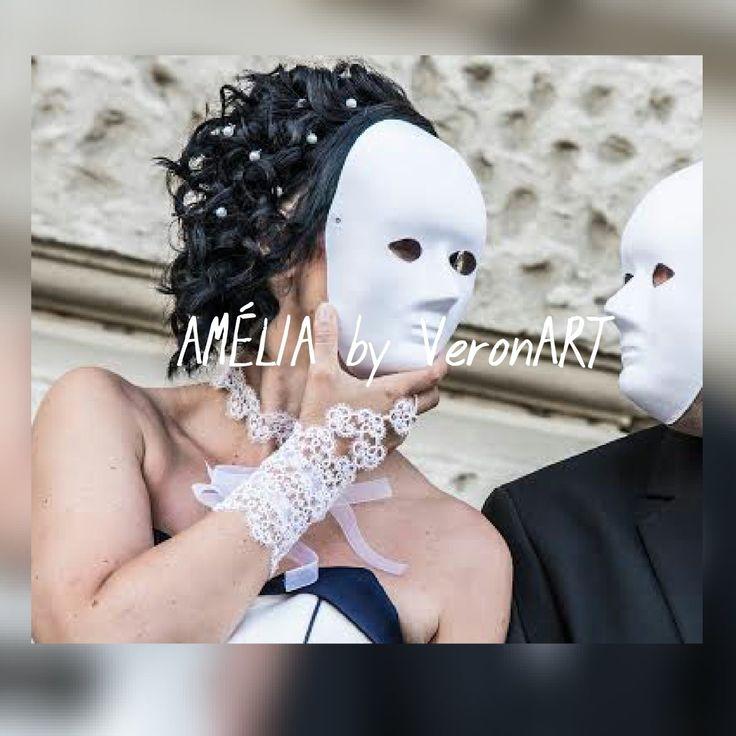 AMÉLIA fehér menyasszonyi csipke kesztyű / tatted white bridal gloves…