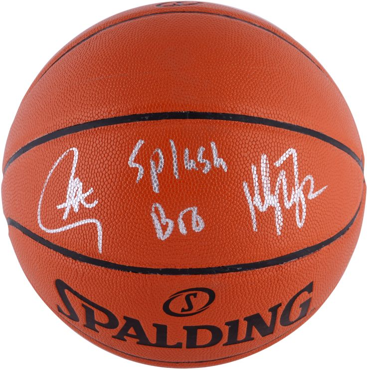 Stephen Curry and Klay Thompson Autographed Indoor/Outdoor Basketball with Splash Bros ...