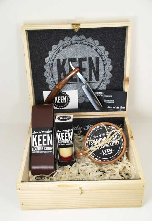 """Keen soap packaging design  """"An old fashion shaving kit. One that would include a straight blade razor, leather sharpening strop, silver tip badger hair shaving brush, a shaving cream soap bar, and a mug."""""""