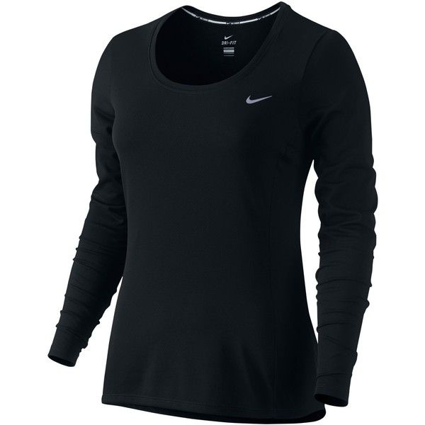 Nike Long-Sleeve Dri-fit Top ($50) ❤ liked on Polyvore featuring activewear, activewear tops, black, nike, nike activewear and nike sportswear