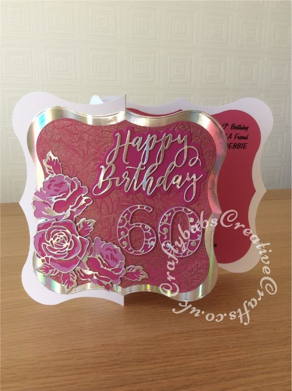 Large 8 X 60th Birthday Card Made Using Shaped Blank Jus