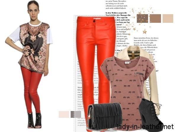 Блестящий топ и красные кожаные штаны