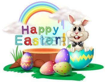 Illustrazione di un saluto di Pasqua felice con un coniglio e uova su uno sfondo bianco photo