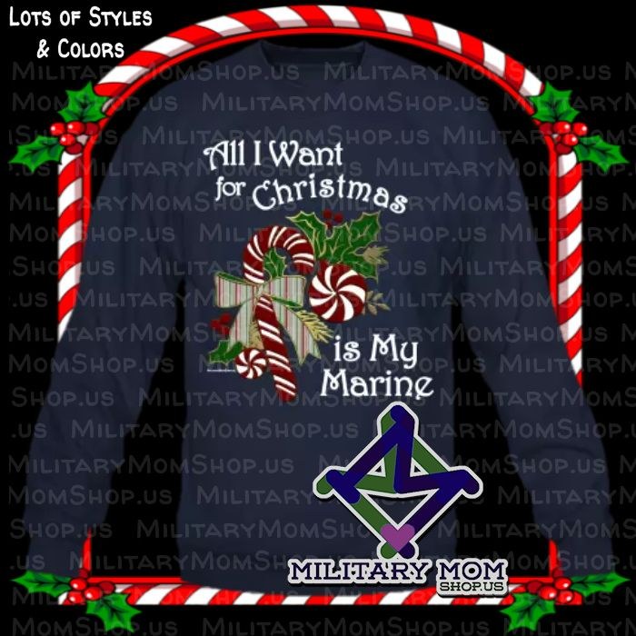 LOVE THIS MARINE CHRISTMAS SHIRT!!All I Want for Christmas is My Marine - HOW TRUE IS THIS??!! Choose from lots of colors and styles!  <3 MilitaryMomshop.us #Marine #Marines #MarineShirts #MarineWife #MarineGirlfriend #MarineMom #MarineGrandma