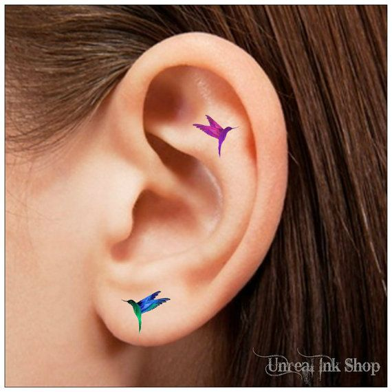 Temporary Tattoo 16 Hummingbird  Ear Tattoos by UnrealInkShop, $4.85