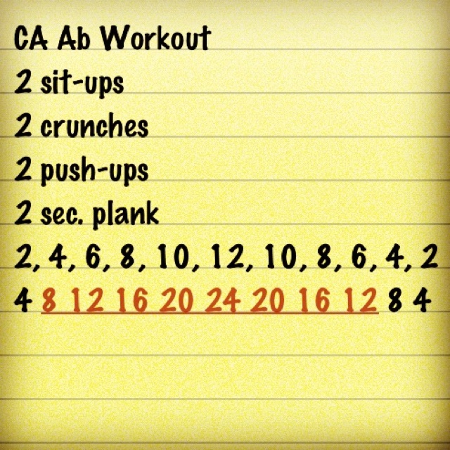 Cheer Athletics Ab Workout: 2 sit-up, 2 crunches, 2, push-ups, 2 sec. plank x 2 then x 4 and you keep going. The bottom row is how many you do of each.