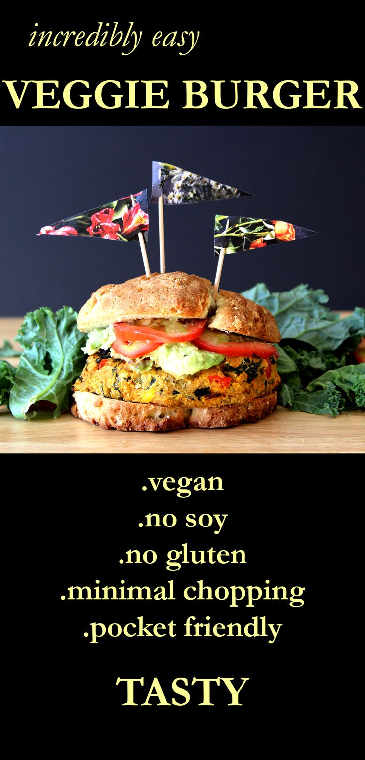 A very easy veggie burger with very little chopping involved. Vegan.