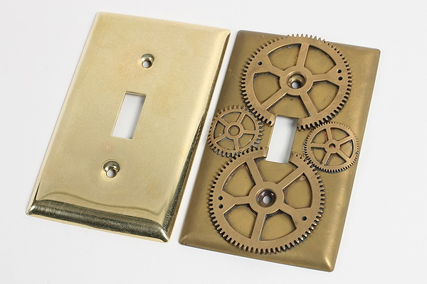 DIY awesome steampunk style light switch cover, including an incredibly easy way to give it the aged patina-just use 2 Tbsp ammonia! Great for decorating a boys bedroom, workshop, garage, etc. I will be using these in the garage!: Steampunk Switchplate, Idea, Lightswitch Plates, Home Decor, Light Switch Plates, Steampunk Decor, Light Switches, Steampunk Home