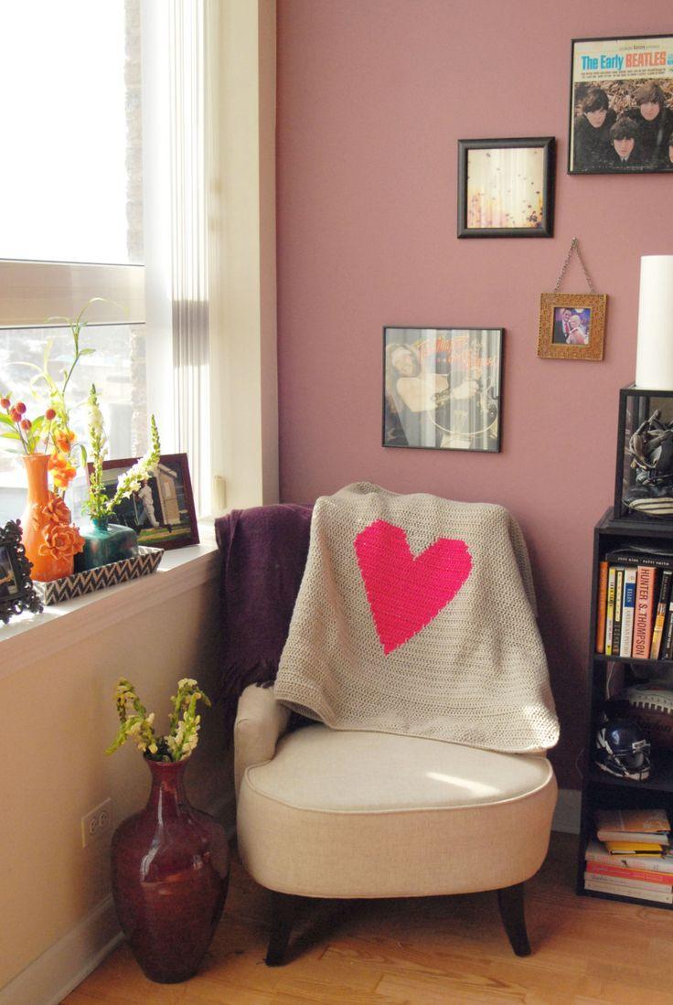 Crochet Heart Blanket by doughandadeardesigns on Etsy, $65.00