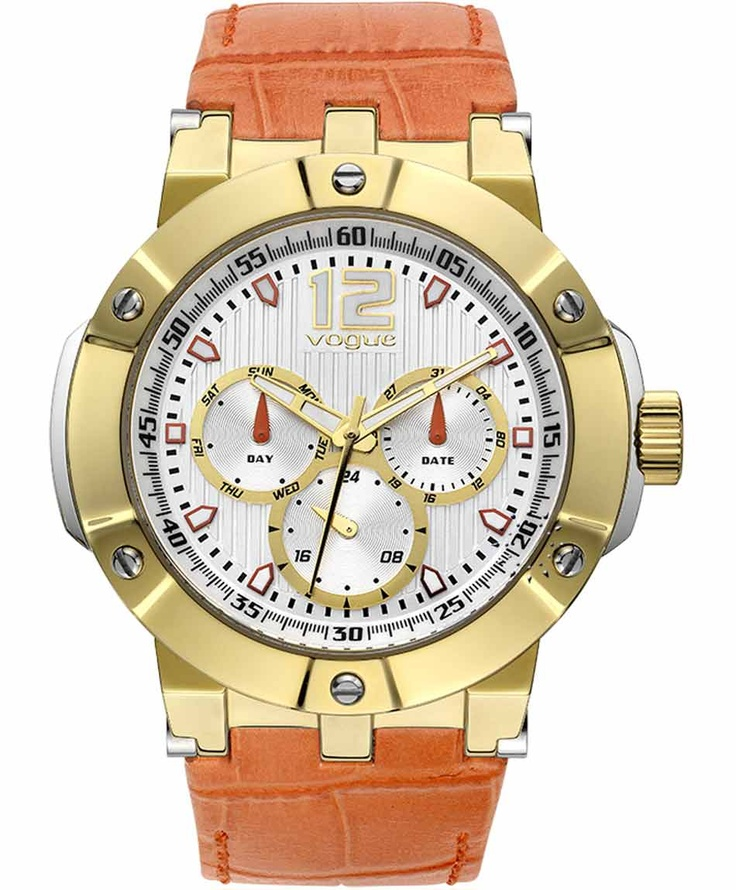 VOGUE Elegance Gold Orange Leather Strap  Τιμή: 225€  Αγοράστε το εδώ: http://www.oroloi.gr/product_info.php?products_id=31591