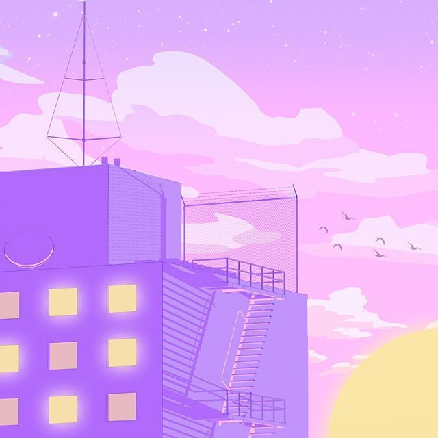 Sunset From The Rooftop Aesthetic Pastel Wallpaper Anime