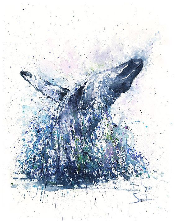 Life is just better with animals around! Light up your home and spirit with this impressionistic watercolor whale painting. I hope you enjoy this